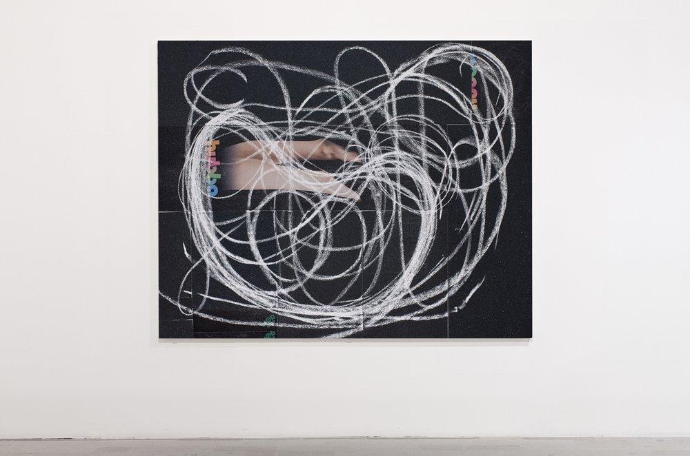 Rui Mizuki,  Pool #Broad Beans 1 , 2015, chalk on grip-tapes, 1000 x 727 mm