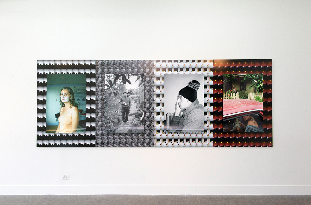 Gabriel Tongue, Lili Belle, Leon, Tony, Sally Ann (from Home is where the art is series),  2014, mixed media archival inkjet prints, 4 panels, each panel 150 x 100 cm