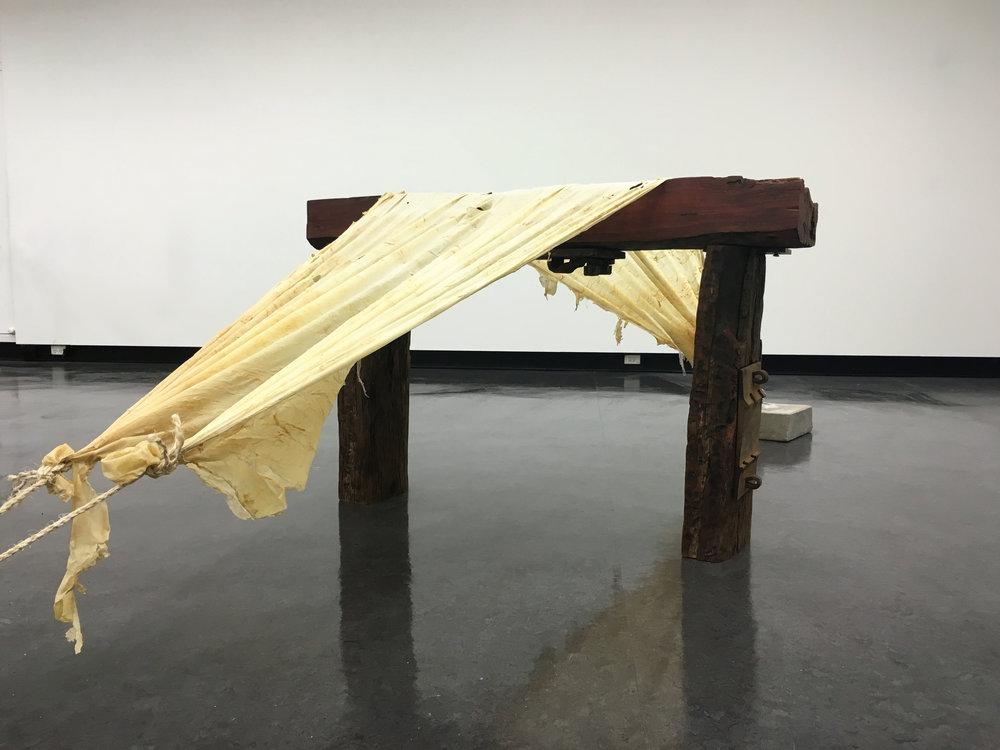 Hans van Hans,  Body in Tension,  2016, latex, wood, jute, concrete, metal, hooks, dimensions variable.