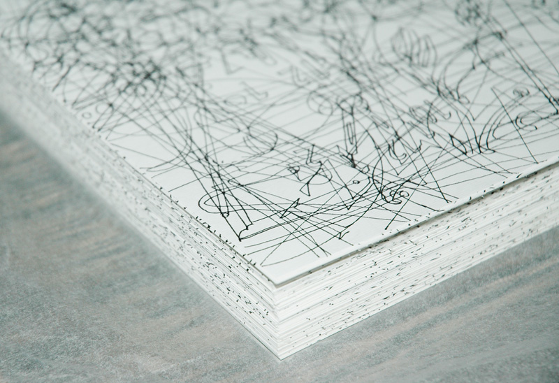 Gosia Wlodarczak,  400 Hours  (making), 2009, 800 panels, each panel drawn for 30 minutes, Pigment ink on Fabriano Acid Free 120 gsm paper, 2 archival cardboard boxes, Size of each drawing: 29.7 x 21 cm, when installed size variable. Courtesy the artist and Arc One Gallery, Melbourne