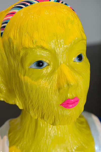 Erik  Mark Sandberg,  Girl with Summer Fever (Yellow),  2011, Silcast II, airbrush and automotive clear coat 47 x 35.5 x 23.5 cm