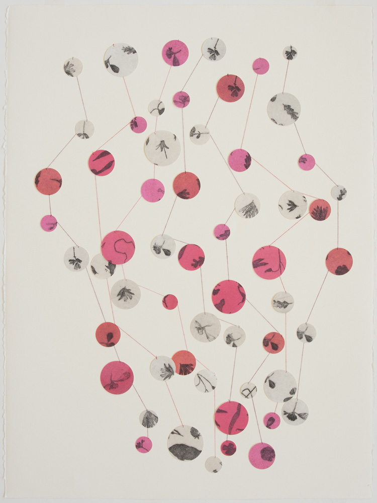 Marian Crawford,  stop on red , 2010, Etching and gouache on cut paper, thread, 76 x 56 cm