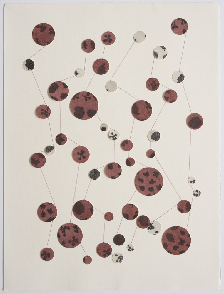 Marian Crawford,  bloodshot , 2010, Etching and gouache on cut paper, thread, 76 x 56 cm
