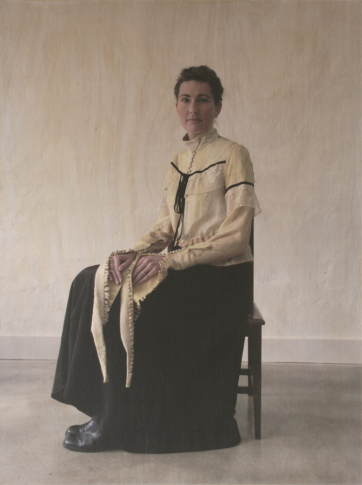 Rebecca Mayo,  Henrietta 1851-1921,  2009, UV ink on ply (shirt: screenprinted and dyed with mistletoe, dye on silk and hemp, Irish lace, velvet ribbon), 640 x 480 x 19 mm