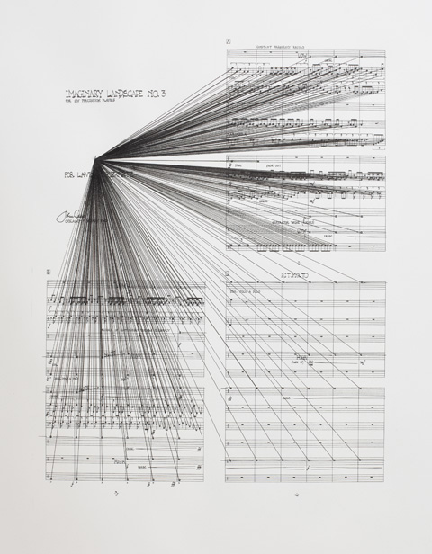 Marco Fusinato,  Mass Black Implosion (Imaginary Landscapes No. 3, John Cage),  2009, Ink on archival facsimile of score, Part 1 of 3. Courtesy the artist and Anna Schwartz Gallery, Melbourne