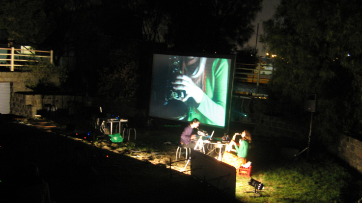 Marco Cher-Gibard and Rosalind Hall , Beat Projections,  2009, Live Performance
