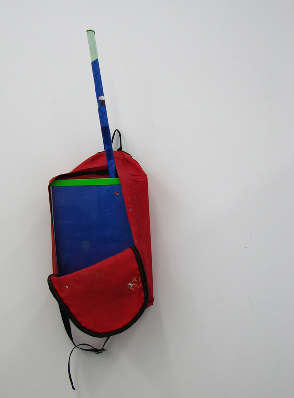 Karri Cameron,  Bagged Out,  2009, Backpack, mop pole, electrical tape, digital print and perspex
