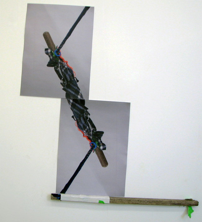 Karri Cameron,  Laced Up,  2009, wood, electrical tape, jumper tag and digital print,  dimensions variable