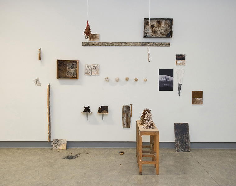 Rushdi Anwar,  Untitled , 2010, mixed media: nails, wood, plaster, rust power, charcoal, ash, found objects: book, cardboard, paper cup