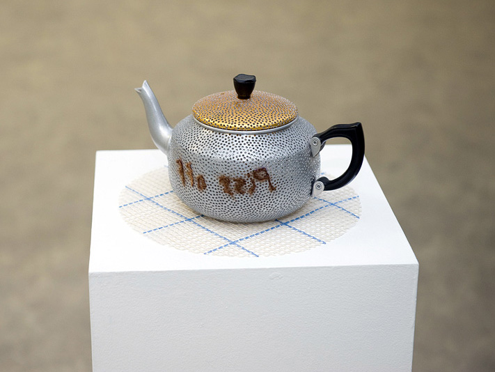 Christina Kerkvliet Goddard,  Teapot , 2010, Drilled aluminium with embroidered hair, 14 x 26 cm