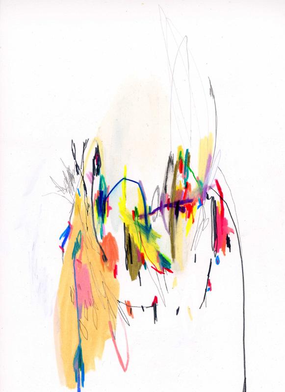 Leilani Turner, talk was tiring so we drank,  2010, pastels on paper
