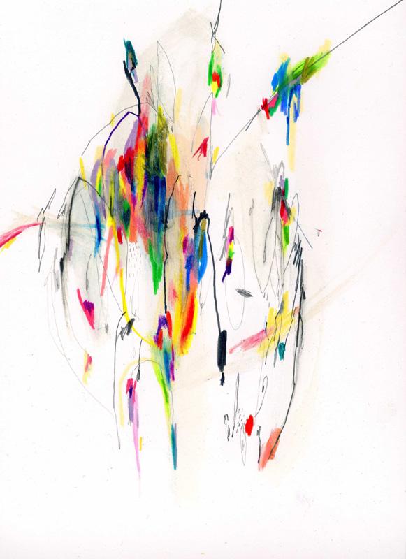 Leilani Turner, monster mask at dinner time,  2010, pastels on paper