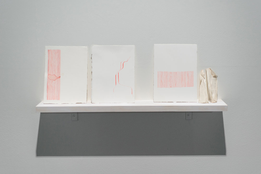 """Josephine Hellen Franklyn,  Notes and Reflections,  2017 ,  Three Installed shelves, mixed media on paper, assembled objects (various materials), iPad, timber box, 10"""" video, looped."""