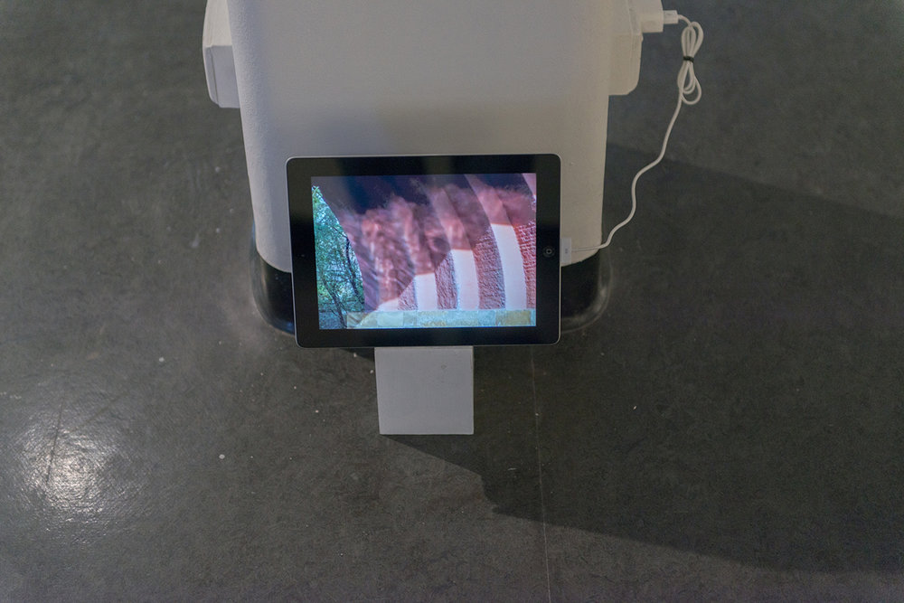 """Josephine Hellen Franklyn,  Notes and Reflections, 2017, Three Installed shelves, mixed media on paper, assembled objects (various materials),iPad, timber box, 10""""video, looped."""