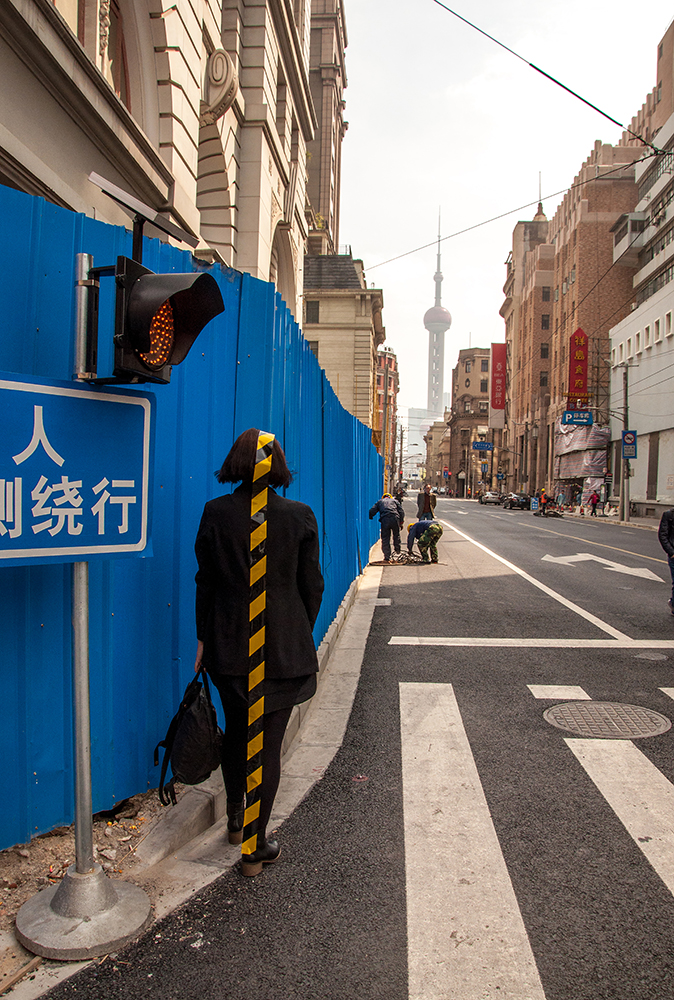 Grace Leone,  Shanghai Scaffolding Intervention,  2017