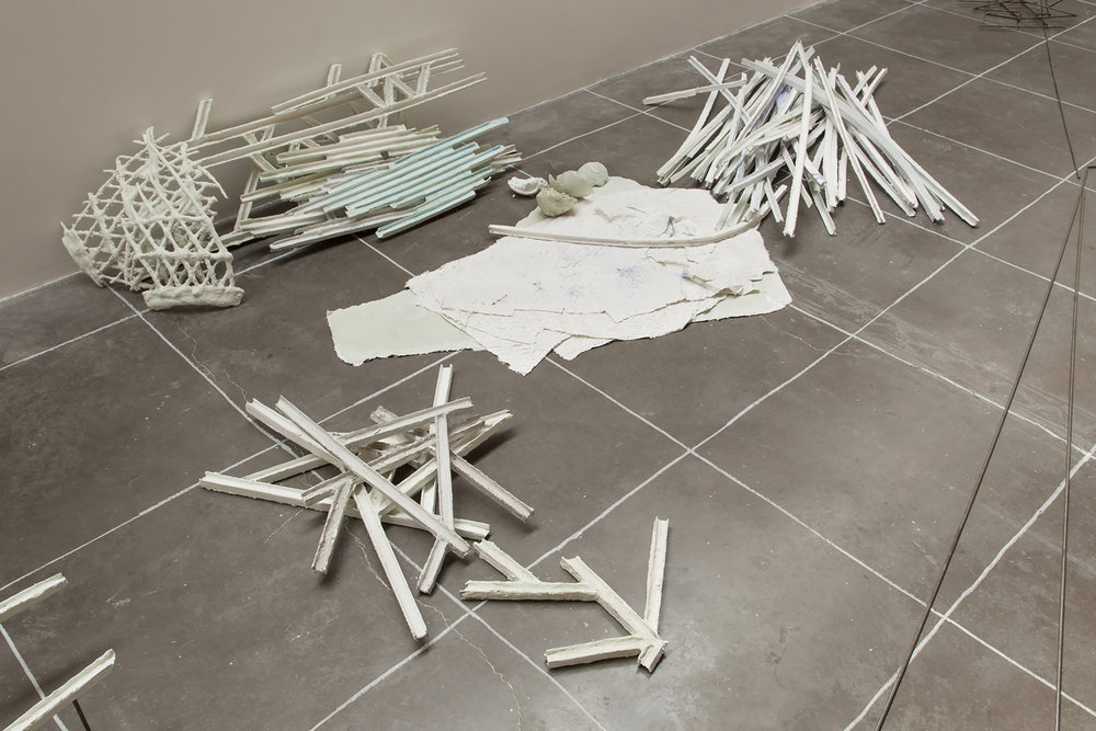 Isabel Nuño de Buen, Constellation 1.2, Part III , Steel, papier maché, cardboard, plaster, watercolor, spraypaint, Aprox. 30x150x200cm, Image Credit: Courtesy of the artist and kurimanzutto. Photo by Diego Pérez.