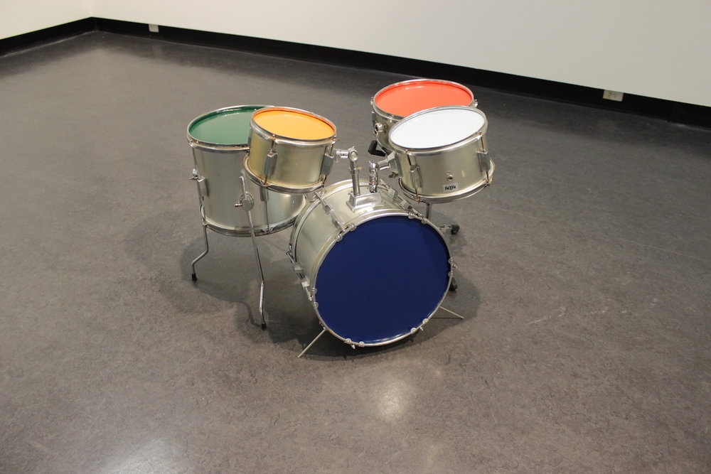 Penelope Moye, Something to talk about , 2017, MDF, enamel, drum-kit, dimensions variable. Photo credit: Chris Bowes