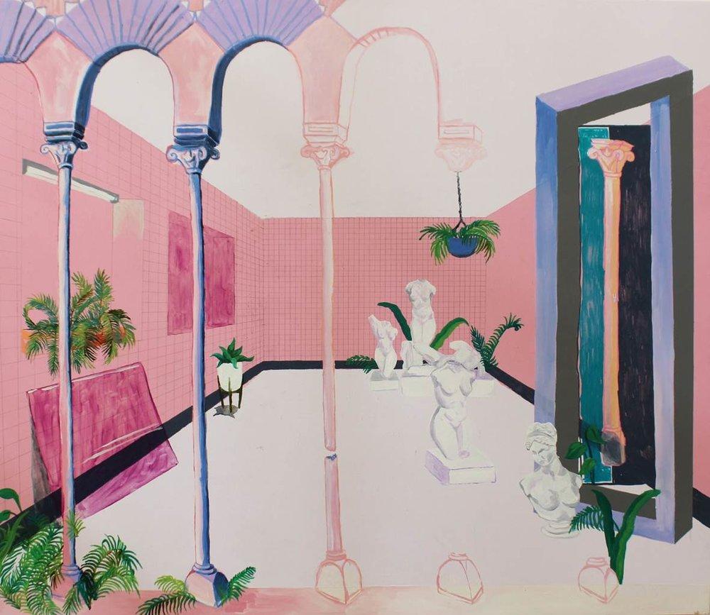 Celeste Magee,  Garden State , 2017, oil, acrylic and posca on board, 60 x 70cm