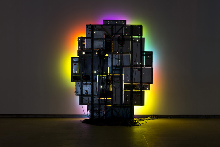 David Batchelor,  Magic Hour,  2004/07, found lightboxes, found steel supports, acrylic sheet, fluorescent lights, cable, plugs, plugboards, Courtesy: Ingleby Gallery, Edinburgh; Galeria Leme, Sao Paulo; Ab Anbar Gallery, Tehran, Photo: Marcus Leith