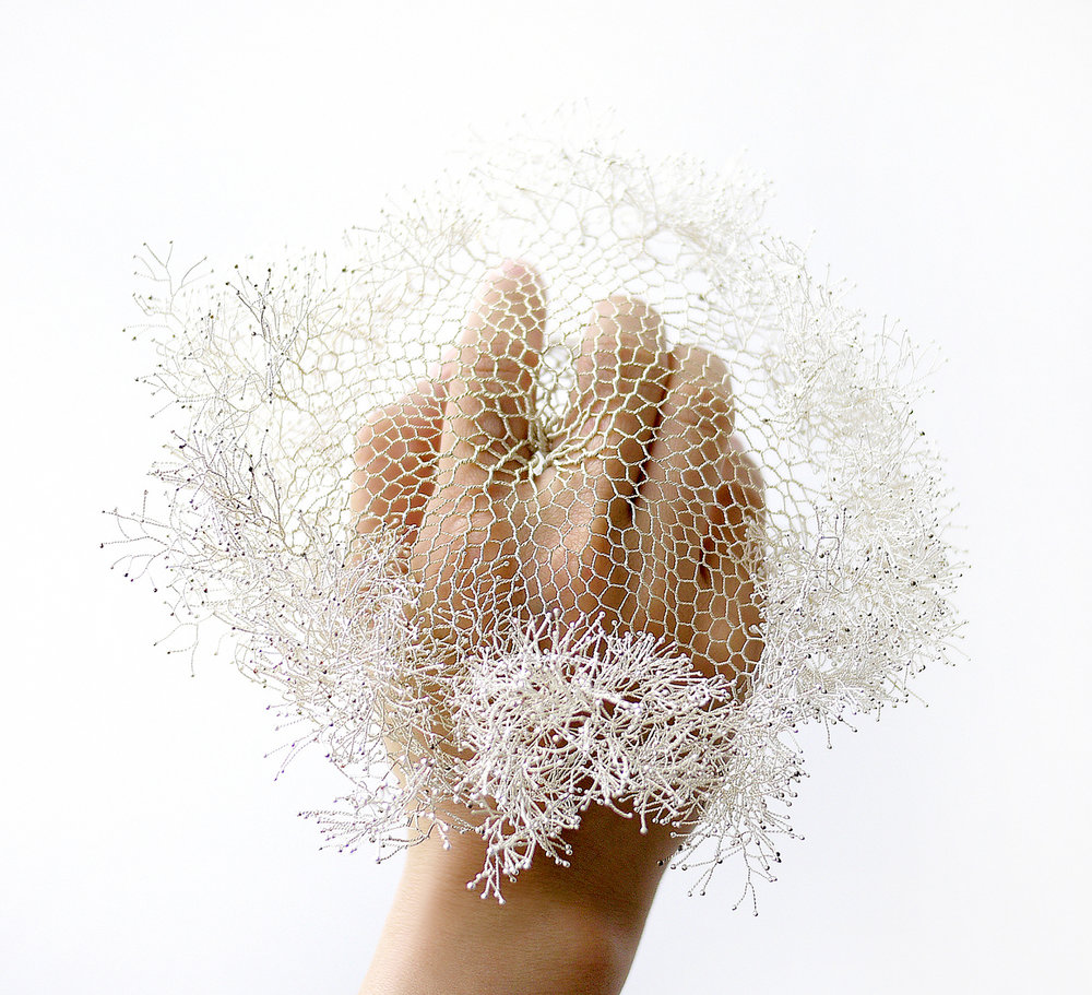 Yu Fang Chi,  The Nerve Ending IV  -Congeal , 2014, silver wire, variable dimensions.