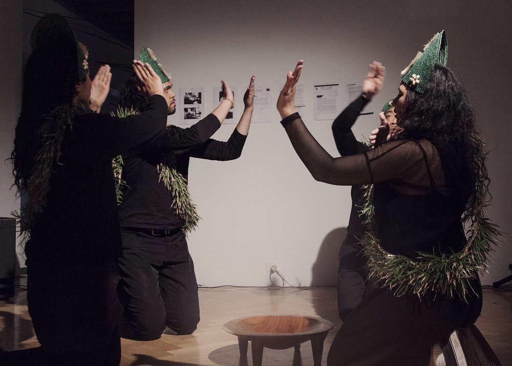 Performance by La Moana, Ileini Kabalan, Bu Lutui and Iki San for Pōuliuli on 6 May 2017, courtesy West Space and Jacqui Shelton