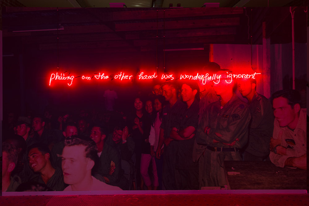 Phuong on the other hand was wonderfully ignorant, 2017, Dimensions variable. Neon, duratrans, light boxes, steel. Photo Credit: Matthew Stanton
