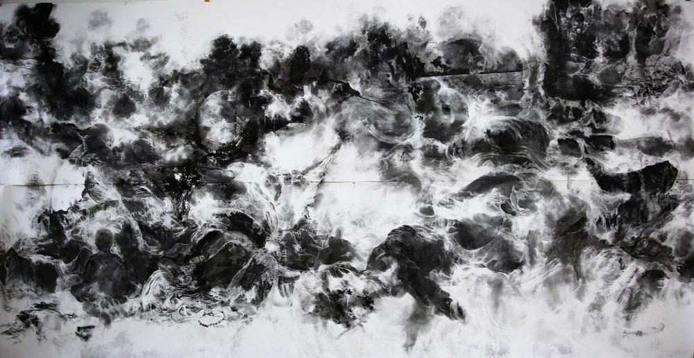 Bakhtyar Kaftan,  Behind the remains , 2018, charcoal on paper, 291 x 150 cm