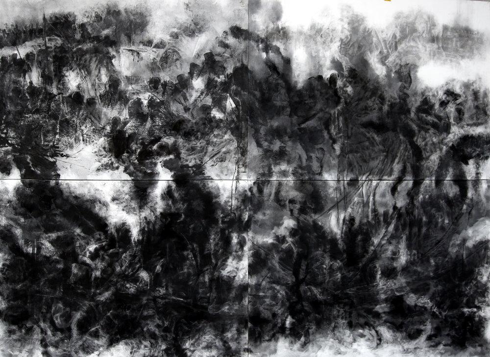 Bakhtyar Kaftan,  Displacement , 2018, charcoal on paper, 152 x 112 cm
