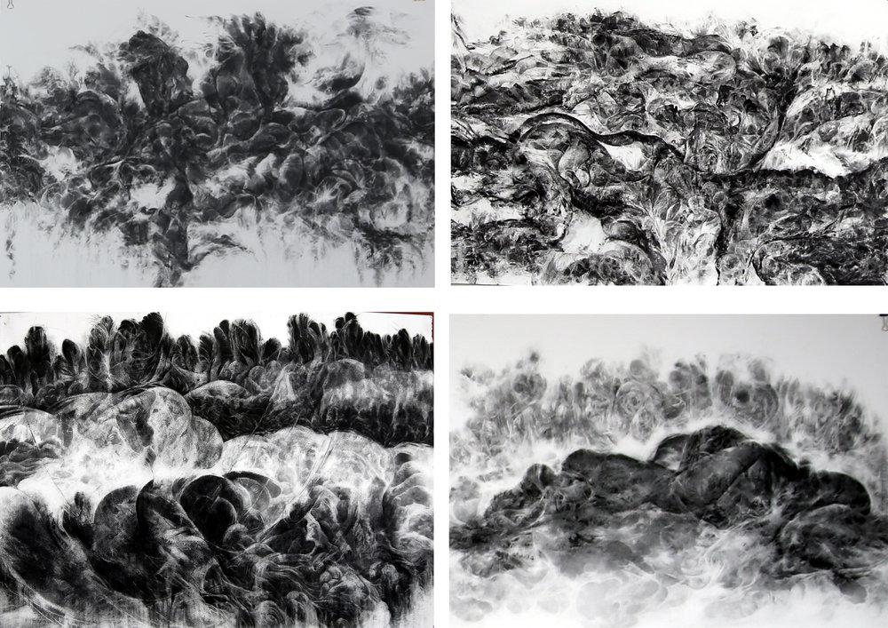 Bakhtyar Kaftan,  Shooting , 2018, charcoal on paper, 152 x 56 cm