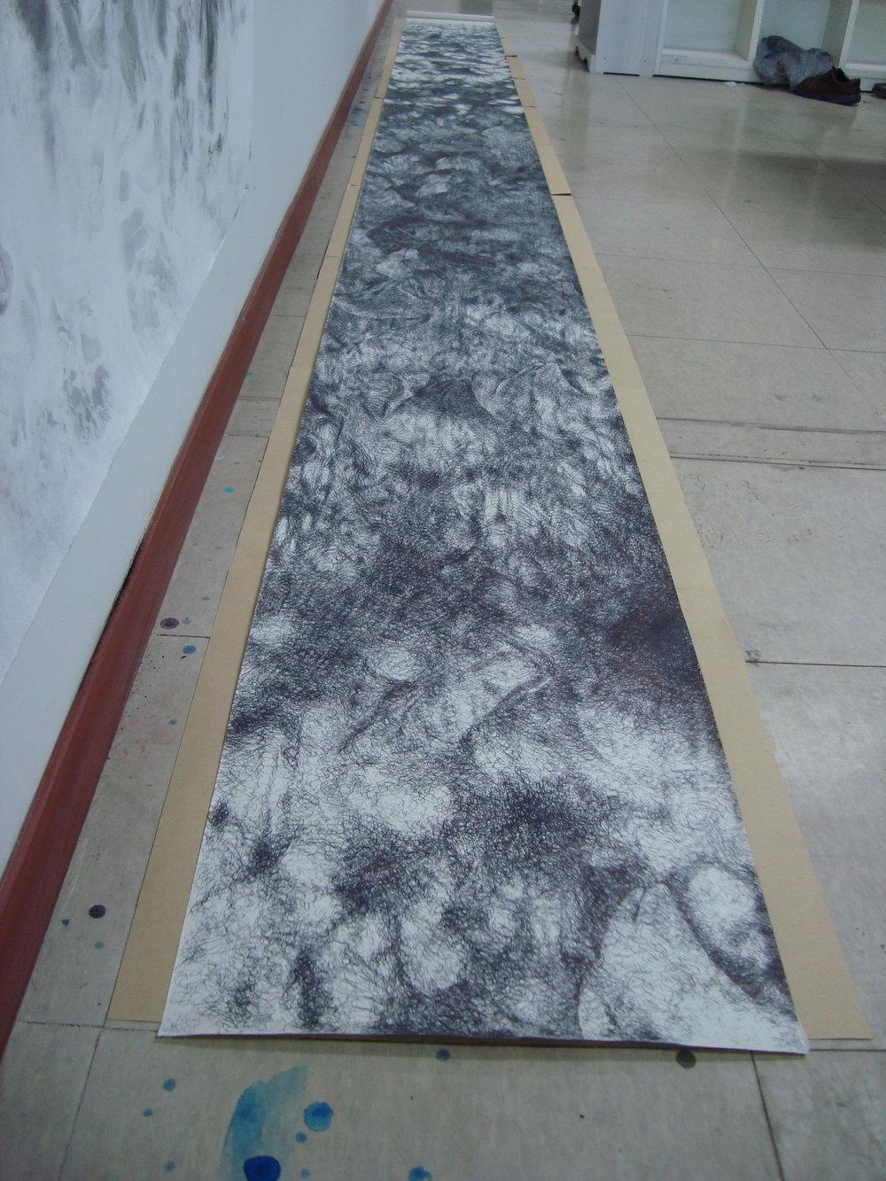 Bakhtyar Kaftan,  Intervention,  2018, pen on paper, 575 x 45 cm
