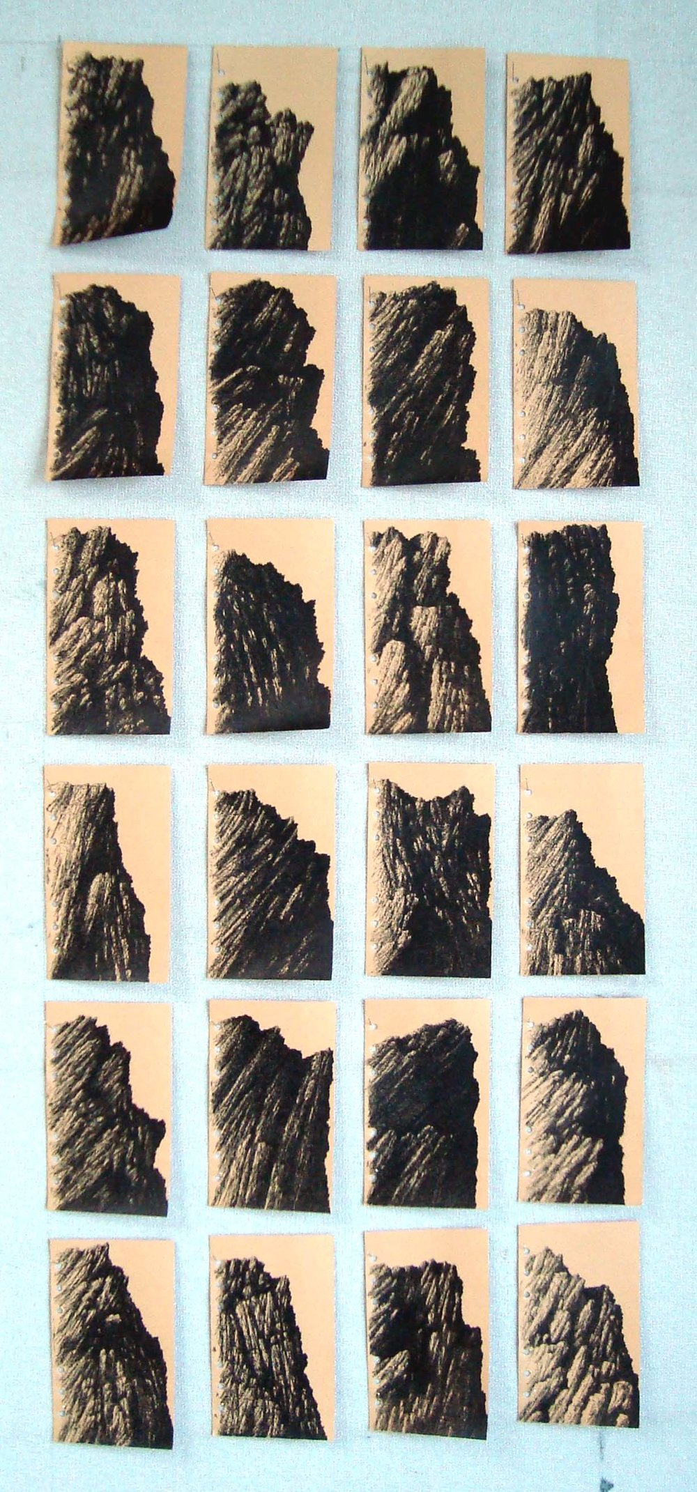 Bakhtyar Kaftan,  Only you Mountains , 2018, ink on paper, 10.7 x 7.5 cm (23 works)