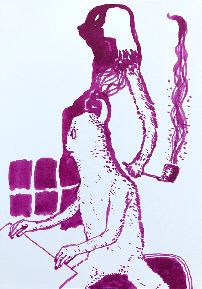 Peter Ellis,  Shapeshifter , 2018, Ink on Arches 300 gsm paper, 21 x 15 cm.