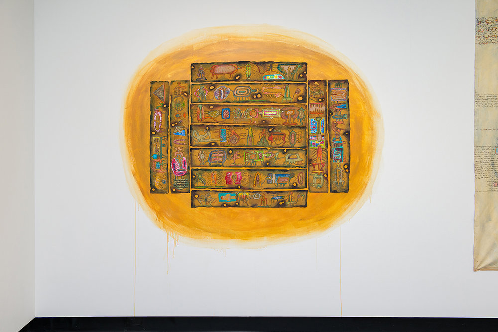 S.Chandrasekaran   Modified in Time , 2010  Mixed media on cloth  86 x 14 cm (each)