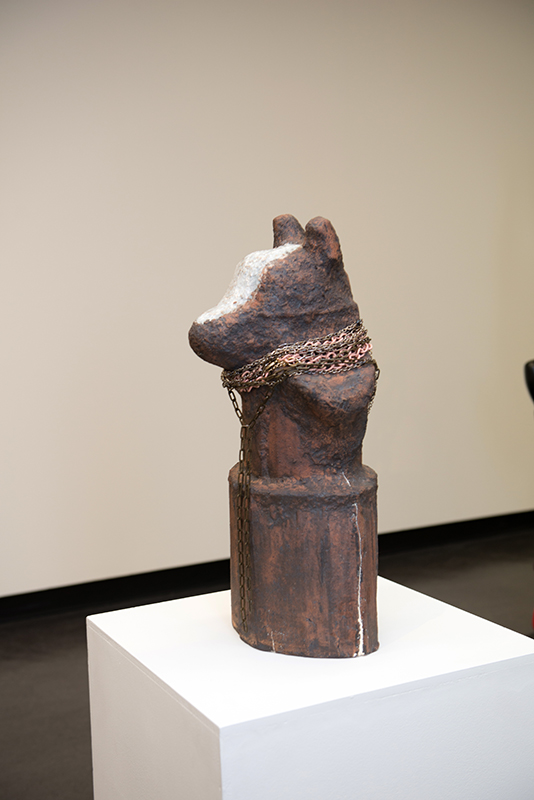 Susan Flavell   Jolfi,  2014  Raku, porcelain, leather buttons, sharks' teeth, cast silver, found beads  59 x 30 x 30 cm