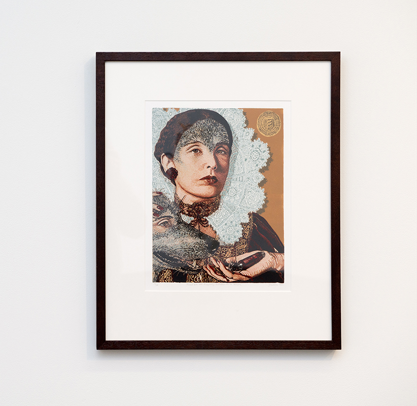 Jazmina Cininas   Erzsébet was frequently mistaken for a vampire , 2011  Reduction linocut  43 x 34.3 cm