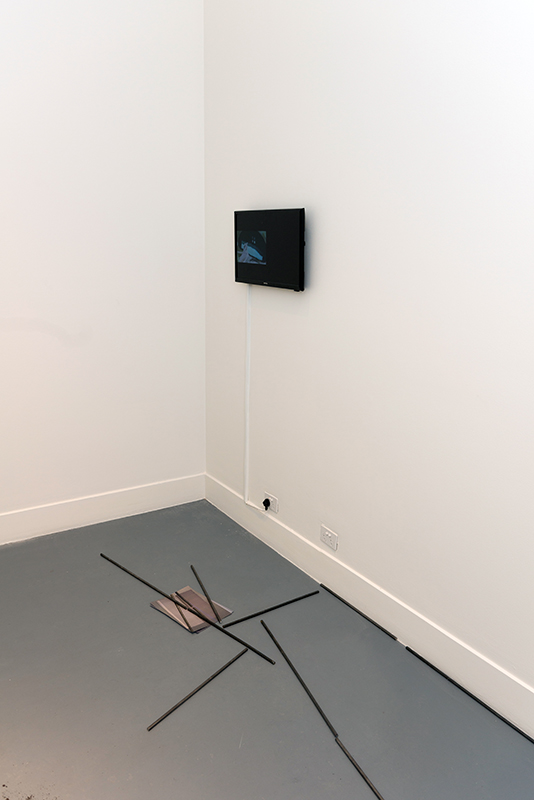 Maria Camila Quintero Arango,  A series of Misunderstandings , 2018, video, 2m 27s  Clara Murphy,  Untitled , 2018, steel rods and paper