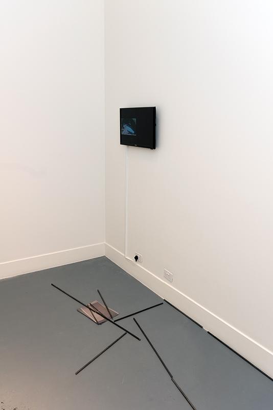 Maria Camila Quintero Arango,  A series of Misunderstandings , 2018, video, 2m 27s  Clara Murphy,  Untitled , 2018, steel rods and paper