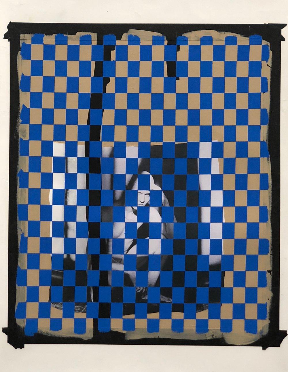 Tim Doud,  RSRMP (Cobalt),  2018, Digital Photo, Acrylic paint and Flashe paint on paper, 46 x 54 cm