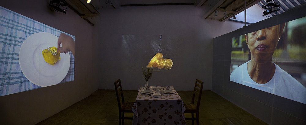 Yaya Sung,  Nothing but a Nom Nom,  2014, Dining room installation, 3 video works, dimensions variable. Image courtesy the artist.