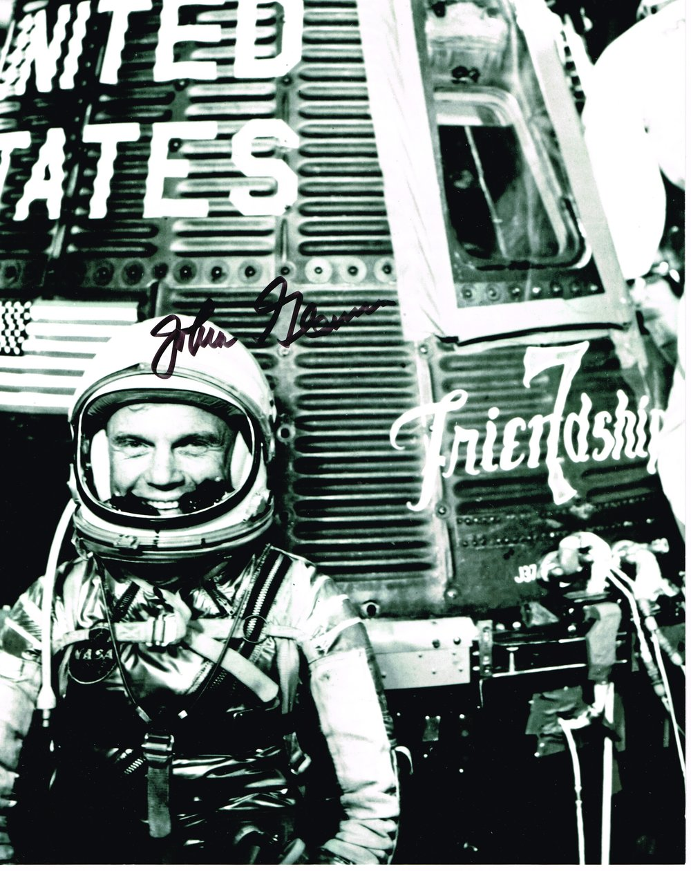 John Glenn Friendship 7 First man to orbit Earth on 20 Feb  1962