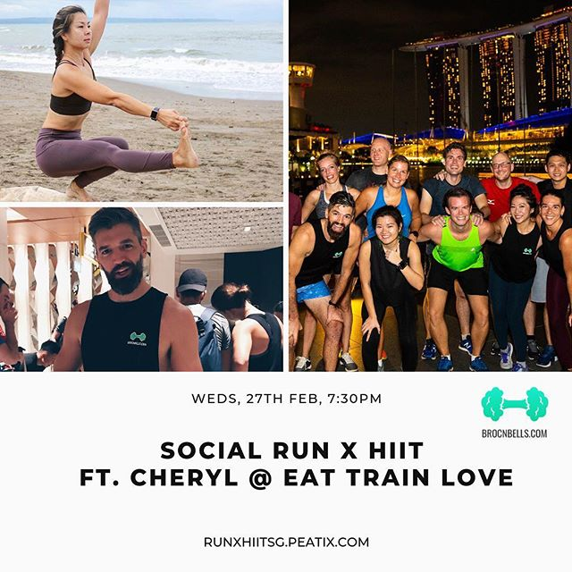 ETL FITFAM we have a special treat for you! Together with @brocnbells and fellow @lululemonsg ambassador @everydaydadathlete , we'll be bringing you a super fun Run & HIIT session on Wed 27 Feb!  Sign up at runxhiitsg.peatix.com to reserve your spot and get ready to run and sweat with Cheryl & Jesse!  In the meantime, classes this week are running as scheduled so see you Wed 7:00pm at the Promontory and Sat 8:00am at Botanics!  #sgbootcamps #sgfitness #eattrainlove #brocnbells #lululemonambassador #thesweatlife