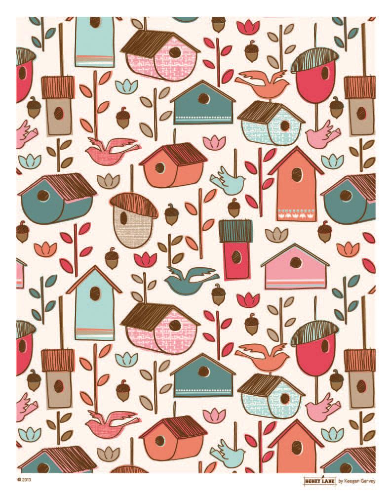 Birdhouse Print Repeat