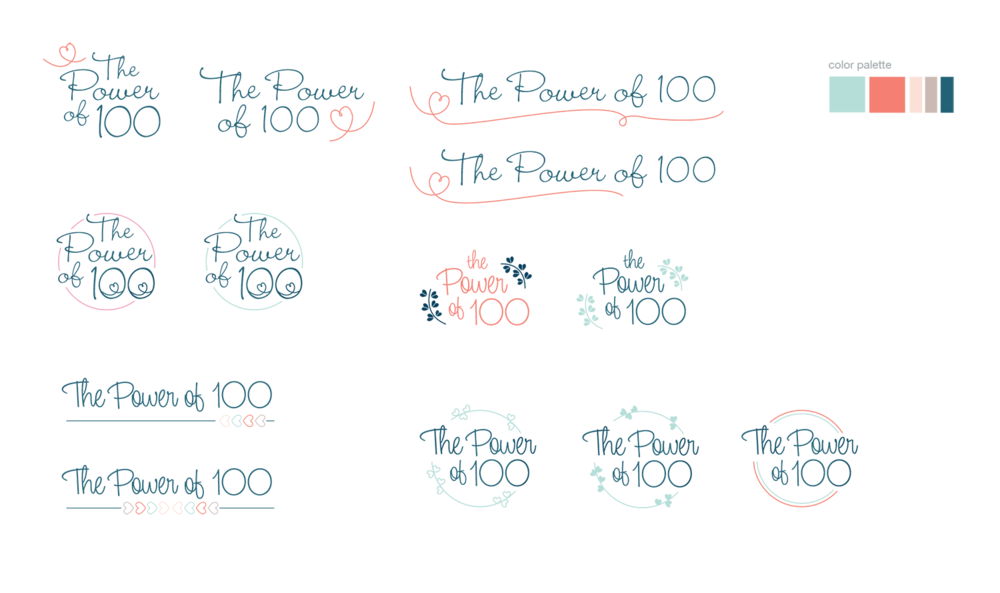 The Power of 100 Logo Exploration