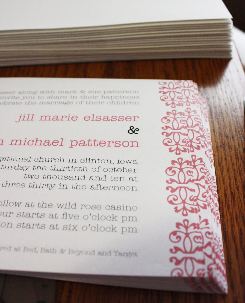 Jill & Brandon Wedding Invite Detail