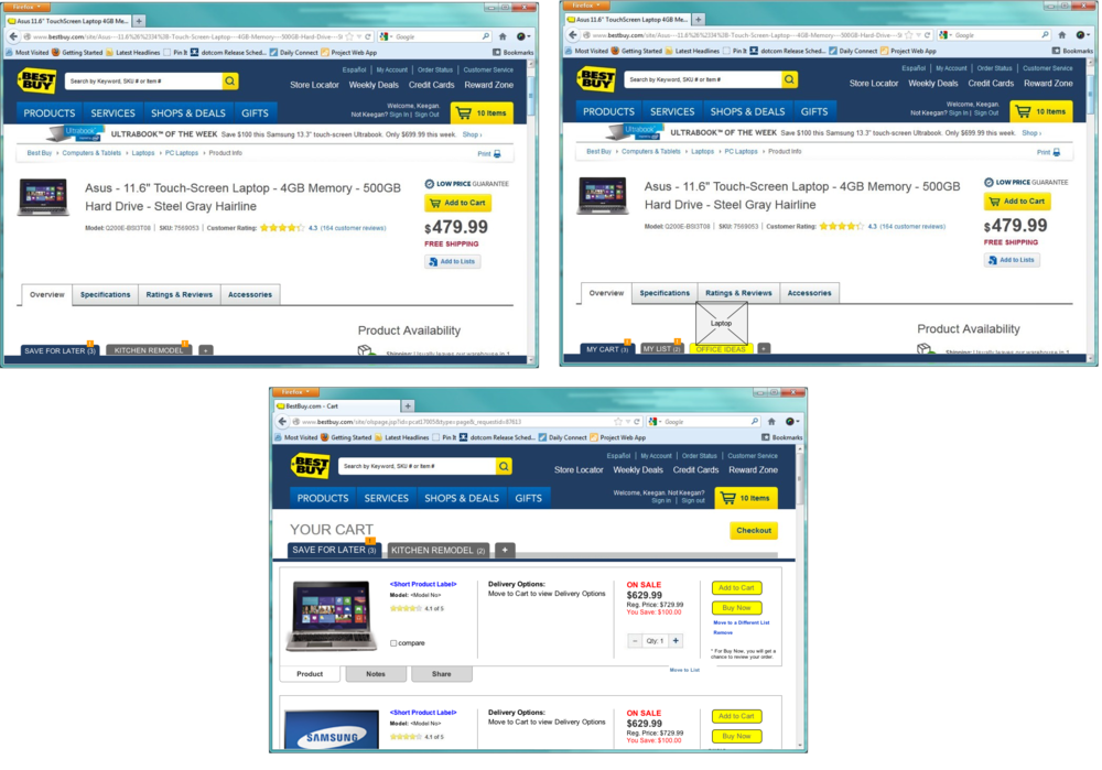 Best Buy Save for Later Sticky Browser Concept