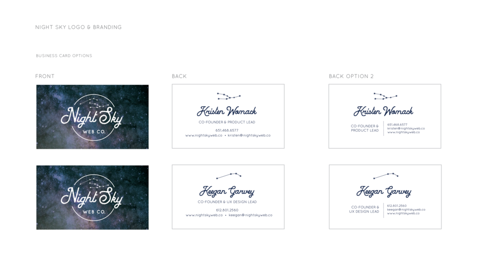Night Sky Web Co. Business Card Designs