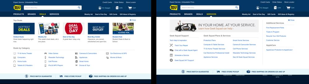 Best Buy Header & Global Navigation Design