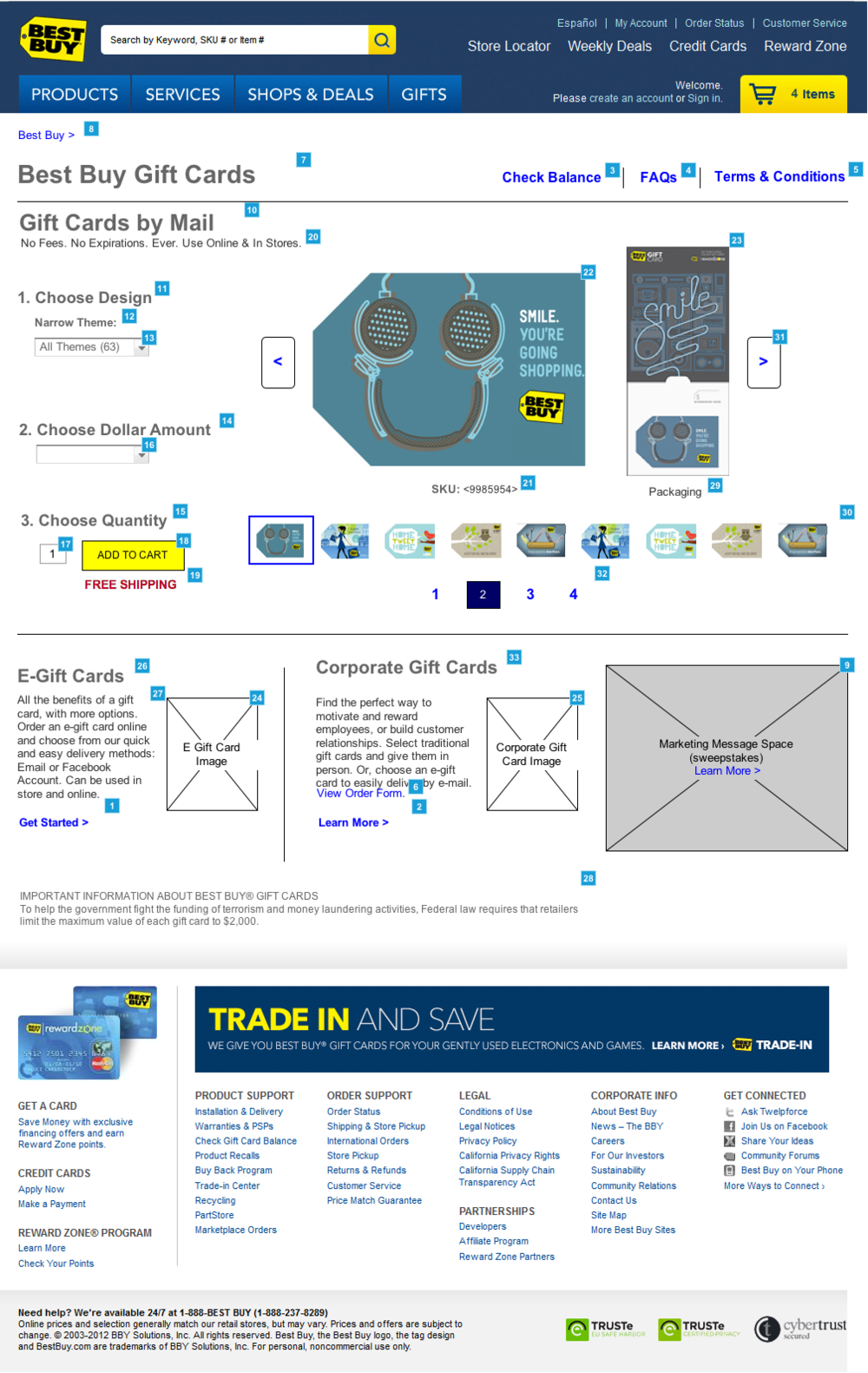 Best Buy Gift Card Wireframe