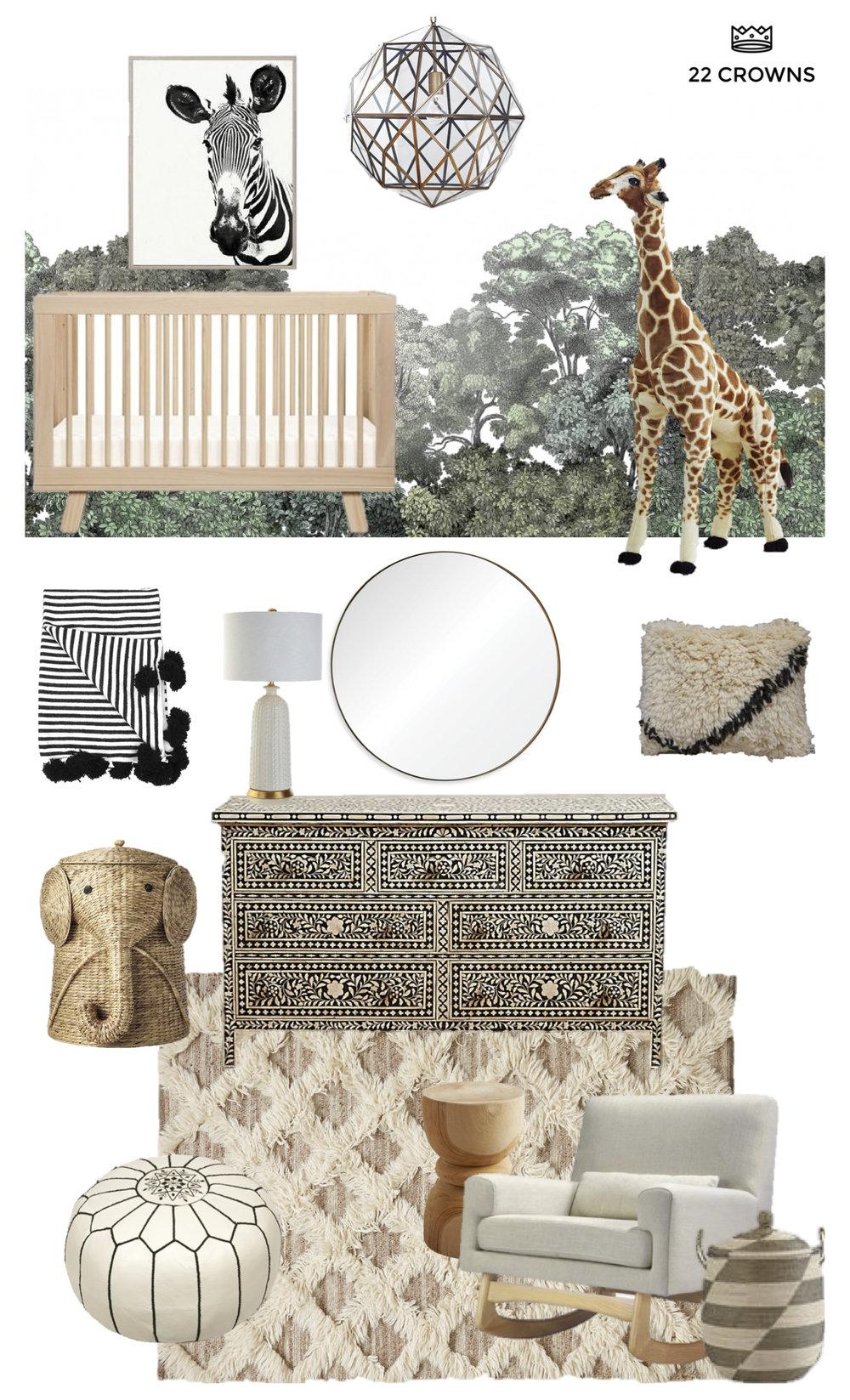 Safari With Me Gender Neutral Animal Zebra Elephant Giraffe Nursery