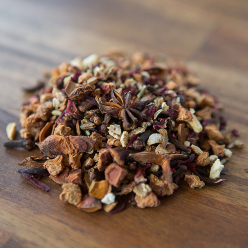 Spiced WinterThis blend is a gorgeous mix of fruits & spices. The perfect way to get stay warm during the cooler months.  All Organic Ingredients: Apple, Anise, Cinnamon , Cloves, Hibiscus/Rosella, Orange Peel, Rosehip granules, Ginger, Nutmeg and Fennel. -